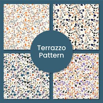 Ensemble de motifs de terrazzo moderne et abstrait