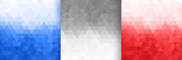 Ensemble de motifs triangulaires en trois couleurs