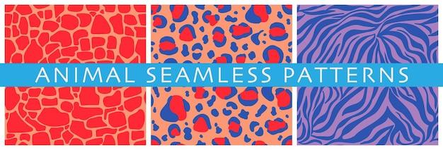 Ensemble de motifs vectoriels sans couture d'imprimés d'animaux décoratifs rayures et taches abstraites