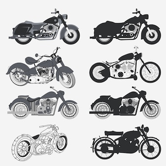 Ensemble de moto, collection de silhouette de moto chopper. concept de moto personnalisé.