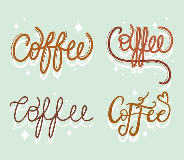 Ensemble de mots de café