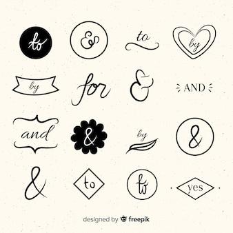 Ensemble de mots clés de mariage dessinés à la main