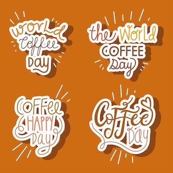Ensemble de mots de la journée mondiale du café