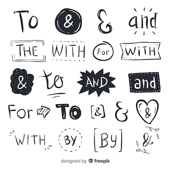 Ensemble de mots mignons de mariage dessinés à la main