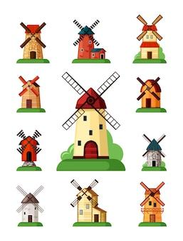 Ensemble de moulins à vent rétro