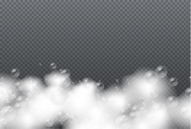 Ensemble de mousse de bain avec du gel de savon à bulles de shampoing ou des bulles de shampoing recouvrant la texture de la mousse