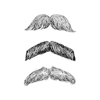 Ensemble de moustache réaliste en illustration noir et blanc
