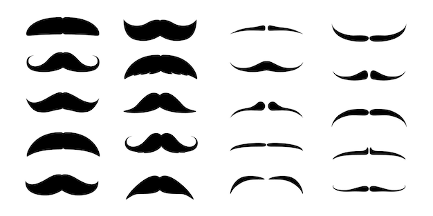 Ensemble de moustaches. silhouette noire de moustaches d'homme adulte. symbole de la fête des pères. isolé sur blanc