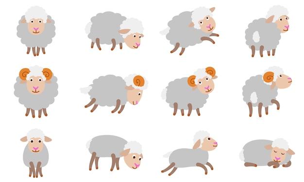 Ensemble de moutons, style plat