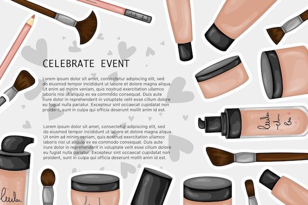 Ensemble de moyens tonaux et correctifs pour la peau du visage, modèle de texte. style de bande dessinée. illustration vectorielle.
