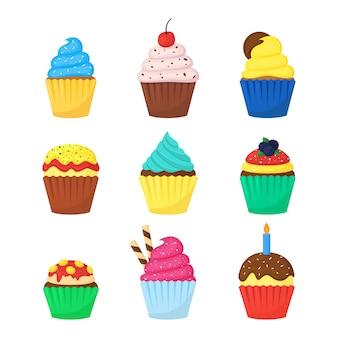 Ensemble de muffins colorés délicieux mignons