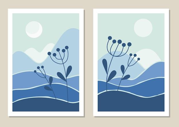 Ensemble de mur de paysage d'art. botanique. paysage abstrait