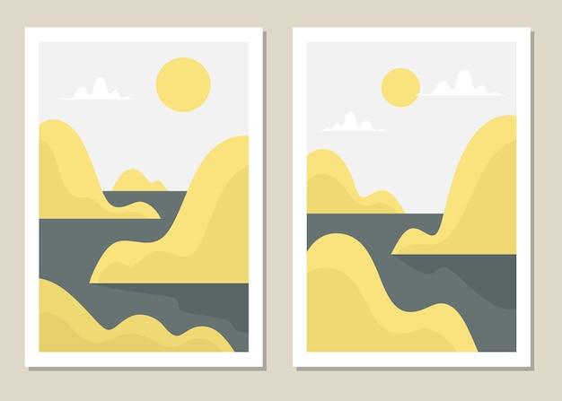 Ensemble de mur de paysage d'art. paysage abstrait