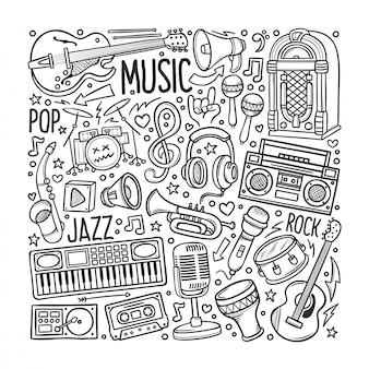 Ensemble de musique dessiné à la main dans doodles