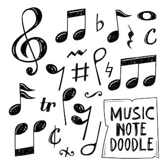Ensemble de musique note doodle