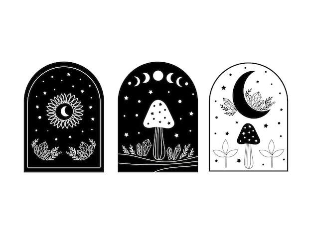 Ensemble mystique avec champignons et lune. illustration vectorielle.
