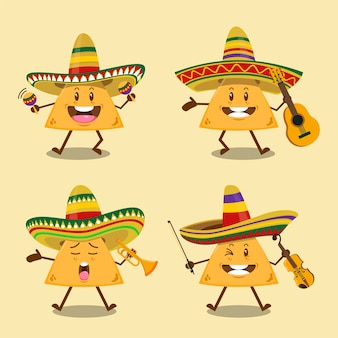 Ensemble de nachos de bande de mariachi mignon avec chapeau sombrero mexicain tenant illustration d'instruments de musique