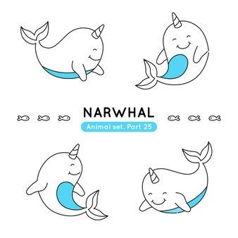 Ensemble de narvals dans diverses poses isolés