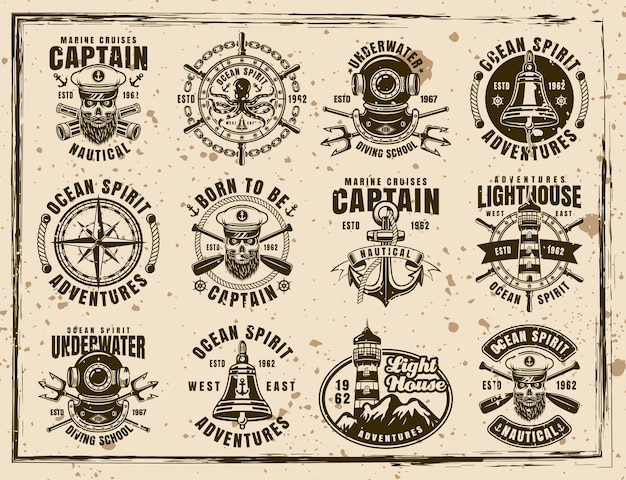 Ensemble nautique de douze emblèmes vectoriels, étiquettes, badges et impressions de style vintage sur fond sale avec des taches et des textures grunge