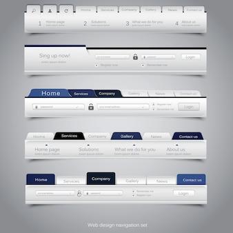 Ensemble de navigation de conception web.