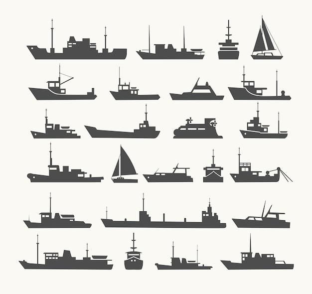 Ensemble de navires. silhouettes de divers navires et yachts.