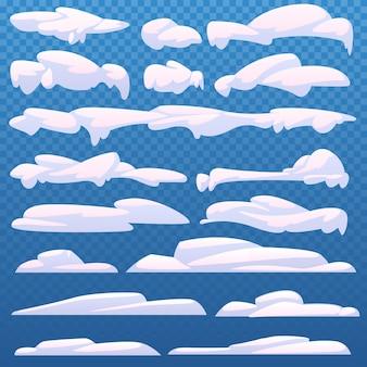 Ensemble de neige de dessin animé et casquettes de neige