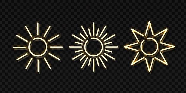 Ensemble de néon isolé réaliste du logo sun.