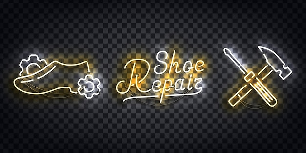 Ensemble de néon réaliste du logo de réparation de chaussures pour la décoration de modèle et la mise en page couvrant sur le fond transparent.
