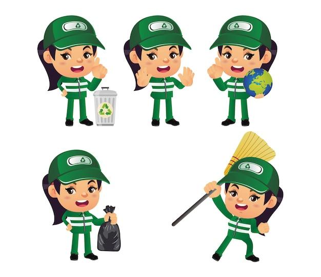 Ensemble de nettoyeur de rue avec pose différente