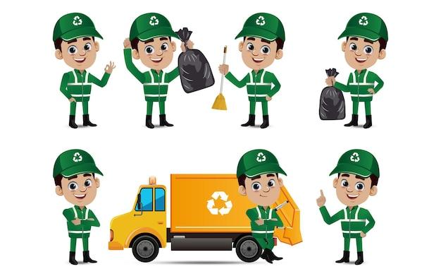 Ensemble de nettoyeur de rue avec des poses différentes