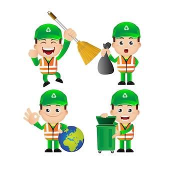Ensemble de nettoyeur de rue