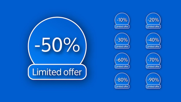 Ensemble de neuf bannières offre limitée avec différents pourcentages de remises de 10 à 90. chiffres blancs sur fond bleu avec ombre. illustration vectorielle