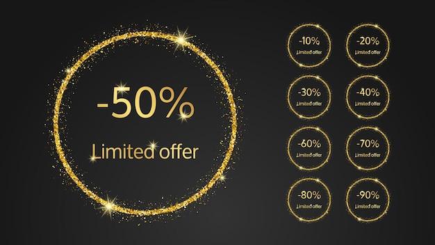 Ensemble de neuf bannières d'or à offre limitée avec différents pourcentages de remises de 10 à 90. numéros d'or dans un cercle scintillant d'or sur fond sombre. illustration vectorielle