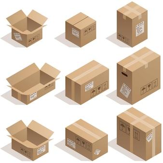 Ensemble de neuf boîtes en carton isométrique isolé sur blanc