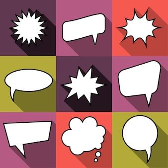 Ensemble de neuf bulles de discours de ballon comique de dessin animé dans un style plat. éléments de bandes dessinées de conception sans phrases. illustration vectorielle