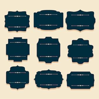 Ensemble de neuf cadres d'étiquettes d'invitation vintage