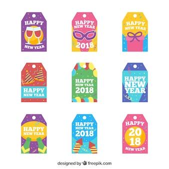 Ensemble de neuf collection d'étiquettes 2018
