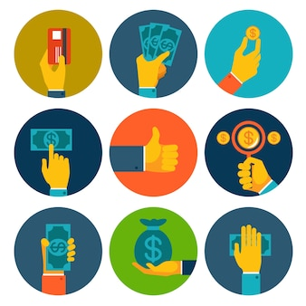 Ensemble de neuf différentes icônes colorées d'argent dans les mains avec des billets en dollars