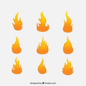 Ensemble de neuf flammes plates