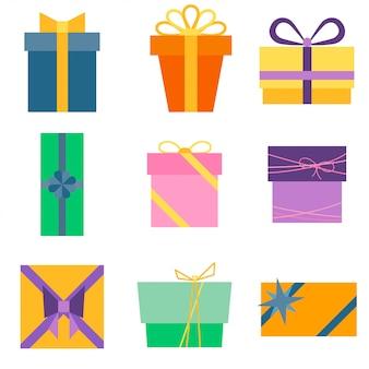 Ensemble de neuf icônes colorées de boîtes-cadeaux