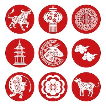 Ensemble de neuf icônes de nouvel an chinois rouge