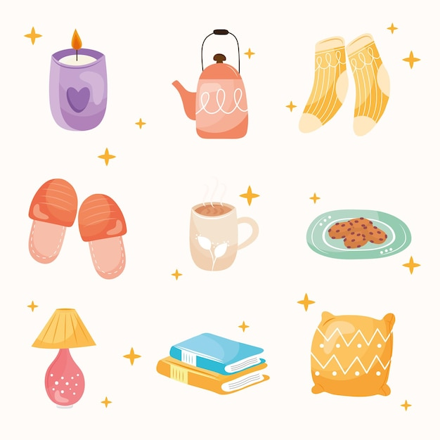 Ensemble de neuf icônes de style hygge