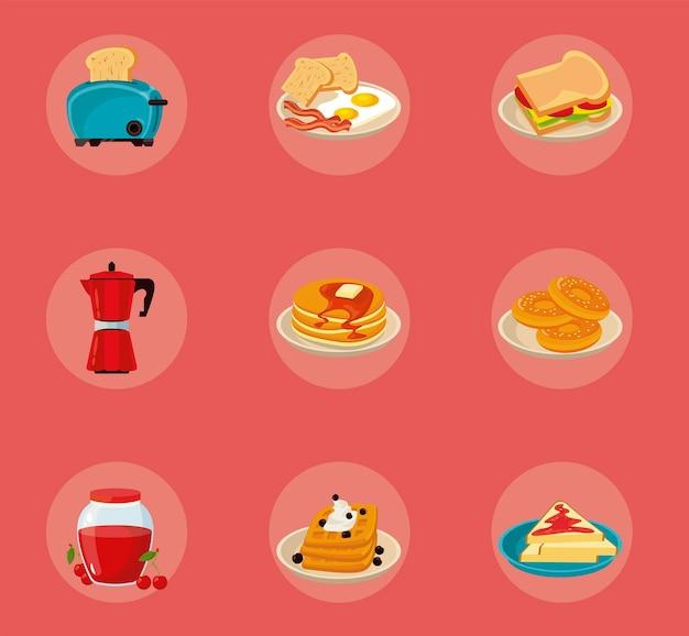 Ensemble de neuf ingrédients pour le petit déjeuner mis en icônes