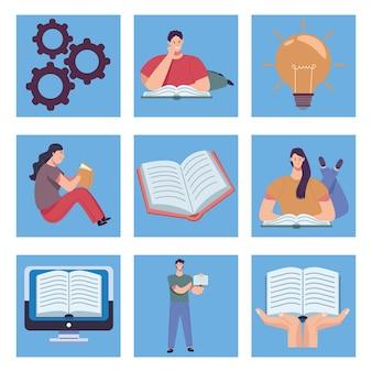 Ensemble de neuf lecteurs mis en illustration
