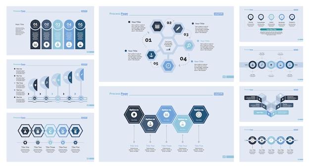 Ensemble de neuf modèles de diapositives de développement