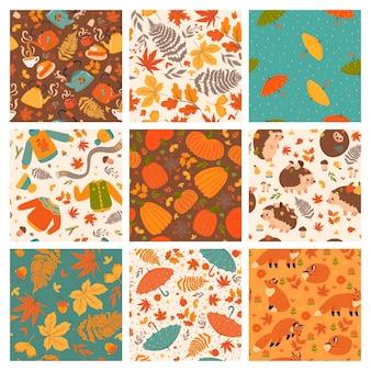 Ensemble de neuf modèles sans couture d'automne mignon. graphiques vectoriels.