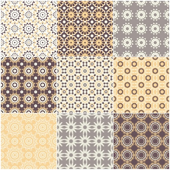 Ensemble de neuf motifs géométriques sans soudure de vecteur.