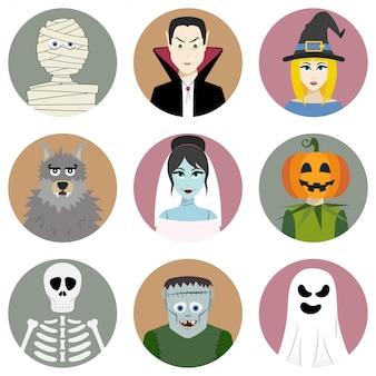 Ensemble de neuf personnages d'halloween
