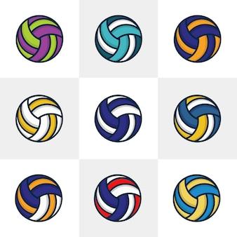 Ensemble de neuf vecteurs de volley-ball