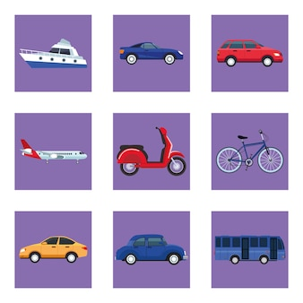 Ensemble de neuf véhicules de transport